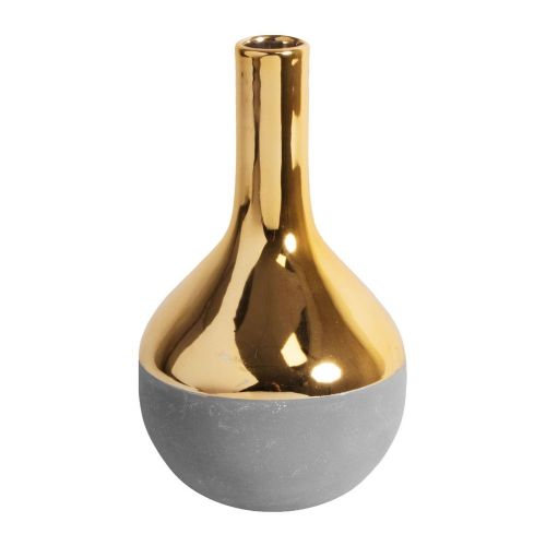 Concrete Grey and Gold Ceramic teardrop Vase Home Ornament